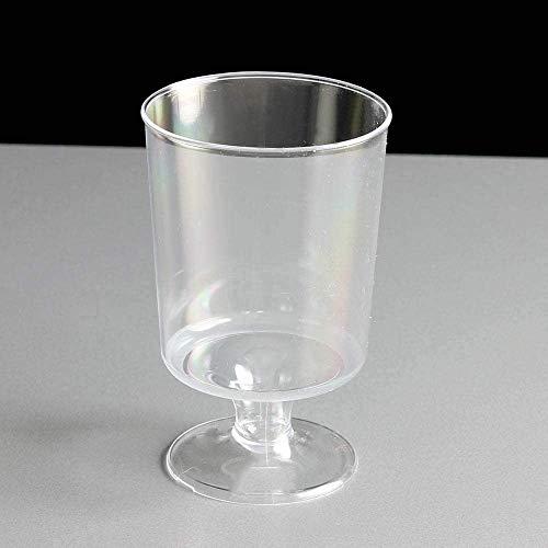 WhopperIndia 50 Wijnglazen 120ml. Classic Clear Plastic Fancy Cups Perfect voor buiten feesten, bruiloften, picknick, stapelbaar, herbruikbaar, wegwerp Stemmed Clear Wijnglazen