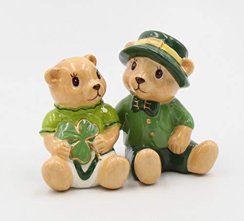 Fine Ceramic St. Patrick Irish Shamrock Teddy Bears Salt & Pepper Shakers Set, 3-1/2' H