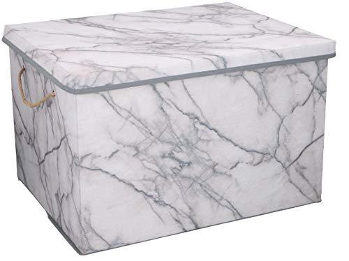 Urban Design Aufbewahrungsbox Aufbewahrung Lagerung Box Kiste faltbar mit Deckel und Trageseil aus Stoff in Marmor Optik (XL)