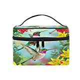 CPYang Bolsa de maquillaje de viaje, diseño de colibríes, flores de hibisco y hojas de cosméticos, bolsa de aseo para mujeres y niñas