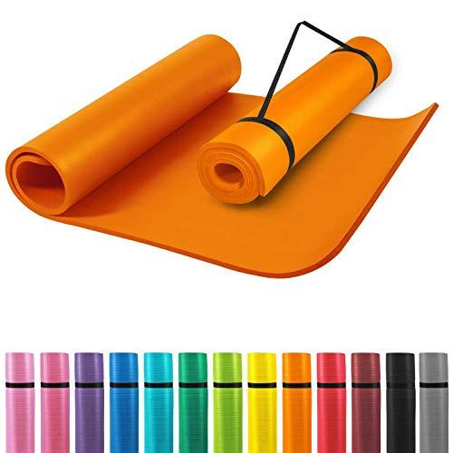 GORILLA SPORTS® Yogamatte mit Tragegurt 190 x 60 x 1,5 cm rutschfest u. phthalatfrei – Gymnastik-Matte für Fitness, Pilates u. Yoga in Orange