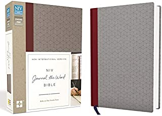 NIV, Journal the Word Bible, Cloth over Board, Red/Gray: Reflect on Your Favorite Verses