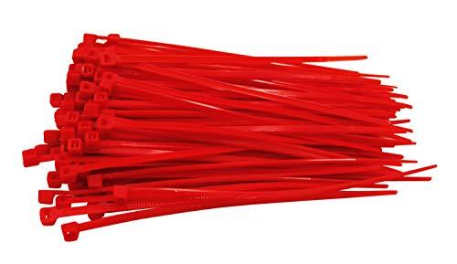 100 Stück Kabelbinder rot 200 mm x 2,5 mm Handwerker Qualität cable ties kurz 8,1kg Zugkraft