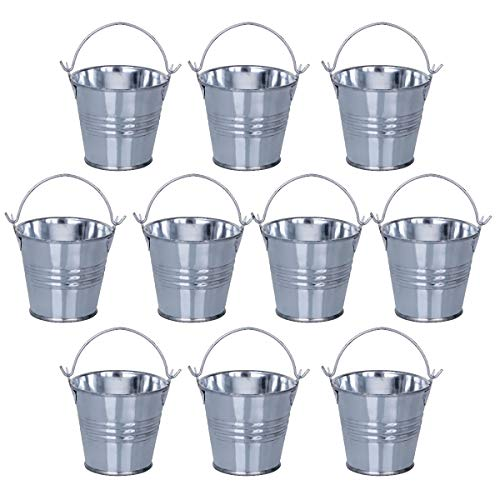 ANSUG 10 Pack Pequeños cubos de metal, Mini cubos de hojalata con asas Mini macetero para proyectos artesanales, favores de fiesta, decoración del hogar, baratijas y suculentas (plata, altura 5 cm)