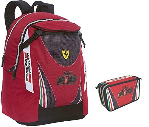 Ferrari - Mochila escolar redonda organizada deportiva + estuche de 3 pisos completo + llavero silbato de regalo
