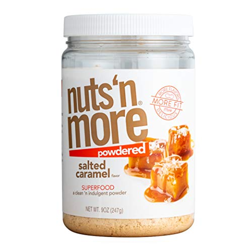 Nuts 'N More Salted Caramel Peanut Butter Powder, All Natural High Protein Nut Butter Healthy Snack, Low Carb, Low Sugar, Gluten-Free, Non-GMO, Preservative Free (9 oz Jar)