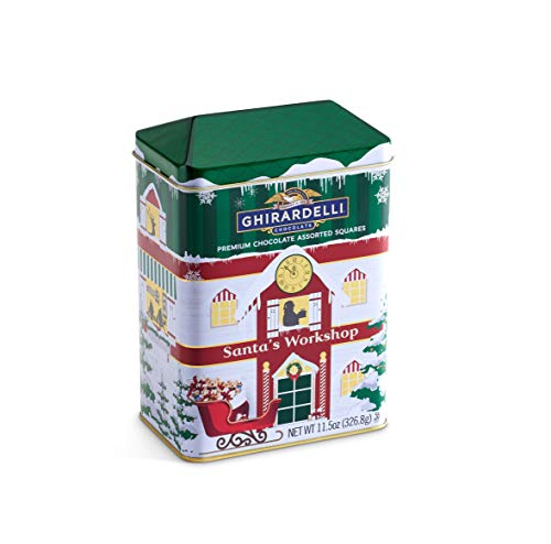 Ghirardelli Squares Tin, Premium Chocolate Assorted, Holiday Candy Christmas Gift, 11.5 oz