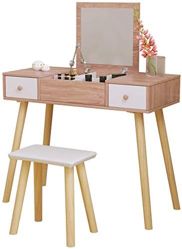 Dormitorio de estilo moderno tocador tocador con espejo y taburete,Brown