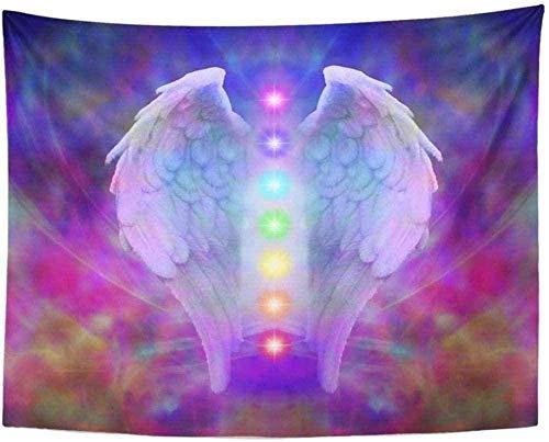 Yhjdcc Tapiz de mandala indio hippie para colgar en la pared, alas de ángel de reiki y siete chakras en colorido alma curativa símbolo divino luz de la edad decoración del hogar 150 cm x 200 cm