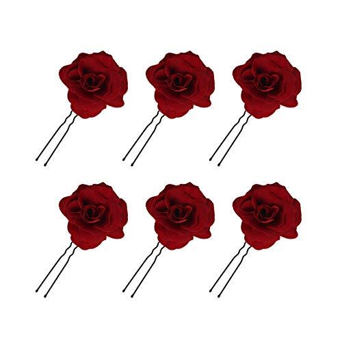 Rose Blume Haarnadel, Haarspangen Damen, Braut Haarschmuck Aufstecken Brosche Hochzeit Rot Rosen Künstliche Haarclips Haarklammer Tanzen U-Form, 6 Stück