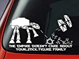 Maple Enterprise Star Wars ATAT & Tie Fighter Inspired 'The Empire Doesnt Care About Your Stick Figure Family Vinyl Decal - Car Window Sticker 8' Wide