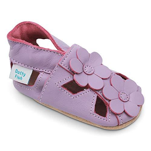 Dotty Fish Zapatos de Cuero Suave para bebés. Sandalias para niños y niñas. Antideslizante. 0-6 Meses a 3-4 Años.