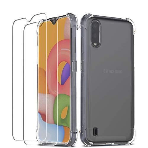 QHOHQ Funda para Samsung Galaxy A01 con 2 Unidades Protector de Pantalla, Carcasa Anti-Choques y Anti- Arañazos - Cristal Templado Membrana - [9H Dureza] - [Anti-Arañazos]