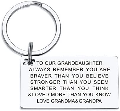 Granddaughter Birthday Gifts Keychain from Grandma Grandpa You are Loved More than You Know product image