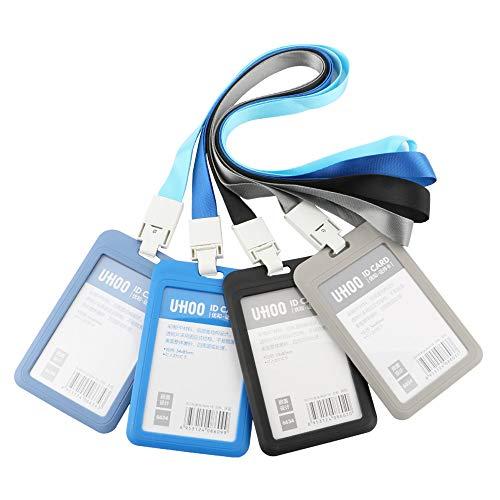 TOOHUI 4 Pcs Funda de Tarjeta de Identificación, ID Titular de la Tarjeta, Vertical Etiqueta de Nombre Insignia ID Card Holders, ID Badge Holder and Neck Lanyard (azul marino, azul claro, gris, negro)