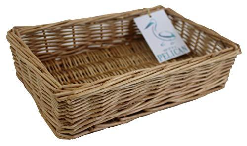 Pop-it-in-a-pelican - Cesta de mimbre para almacenamiento de ropa, 100 % sauce completo, ideal para baños, dormitorios y oficinas en casa, para almacenar maquillaje, papeles o revistas, 28 cm