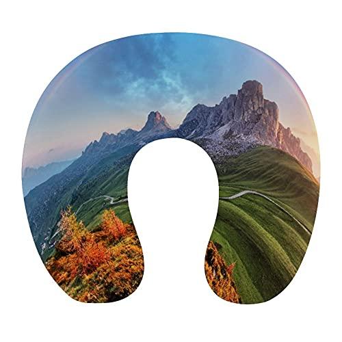 CIKYOWAY Almohada Viaje,Arco Iris matutino y Campo Verde Montañas y Alpes Foto,Espuma de Memoria cojín de Cuello,Almohadas de Acampada,Soporte de Cuello para Viaje Coche