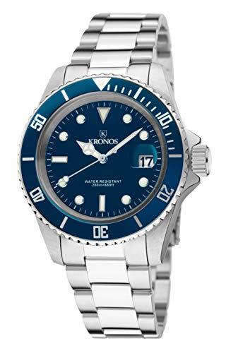 KRONOS - Sport Q 200MTS Black 977.8.65 - Reloj Diver de Caballero de Cuarzo, Brazalete de Acero, Color Esfera: Azul