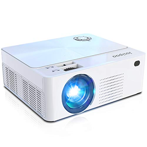 Jasipaa Portable Mini Movie Projector - 6500 Lumens 1080P Full HD Supported Video Projector for Indoor & Home & Office & PPT & TV & HDMI & USB & AV & PS4 & VGA & TF & Laptop (Silver-White)