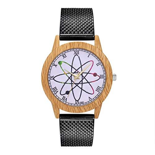 Colgante Pendientes Única de cuarzo con Encanto de moda casual de las señoras del reloj redondo grande reloj de pulsera accesorios de la joyería DecorationT381-F, Color: Plata ( Color : Black )