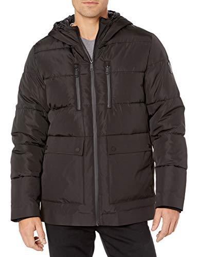 Kenneth Cole New York Men's Hooded Down Alternative Jacket, Black, Large
