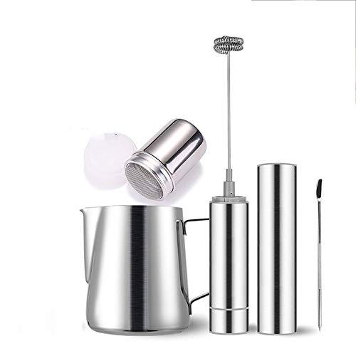 XIXIDIAN Leche Fretro Handheld Foam Maker con Mezclador de Bebidas de batido de Acero Inoxidable para Cappuccino, Latte, café