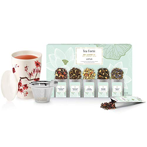 Tea Forte Kati Cup Tea Infuser Cup, Cherry Blossoms + Lotus Single Steeps Loose Tea Sampler Bundle