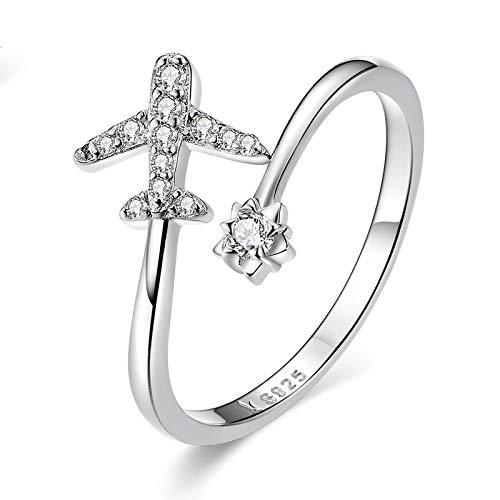 JIARU Anillo de plata de ley 925 para mujer, anillo ajustable, anillo simple de moda y anillo de circón de avión chapado en platino para niña anillo de dedo abierto regalo