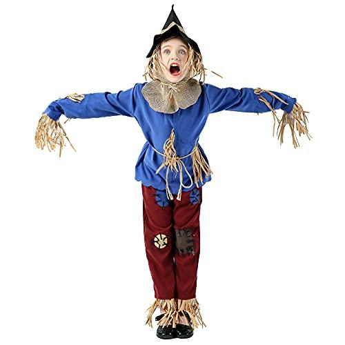 CGBF-Conjunto de Trajes de Cosplay de Espantapjaros para Nios para Halloween Carnival Christmas Fancy Dress Party Disfraz de Escenario,Azul,5 Years