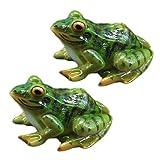 POHOVE Lot de 2 statues de grenouilles en résine - Mini grenouille en résine - Décoration d'intérieur ou d'extérieur - Décoration de jardin - Pour jardin, terrasse, cour