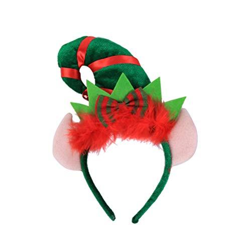 Lurrose Diadema de Navidad Elfo del pelo con el aro del traje del oído favorece el arco del pelo