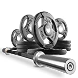 XMark Combo Offer 7 ft. Olympic Exercise Barbell XM-3817-BLACK with 115 lb Set of Premium Quality...