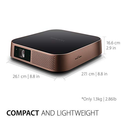 ViewSonic M2 Full HD Smart Portable LED Projector for Gaming, Family & Home Entertainment with WiFi Bluetooth and Harman Kardon Audio - Metallic Bronze