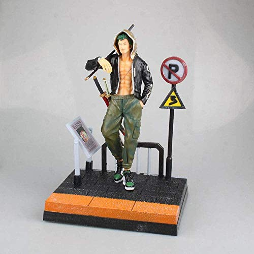 LJUCTD One Piece Trendy Street Boy Roronoa Zoro Standing On A Pedestal Anime Action Figures Model Statue Anime Fans And Otaku Favorite Collections Ornaments Toys