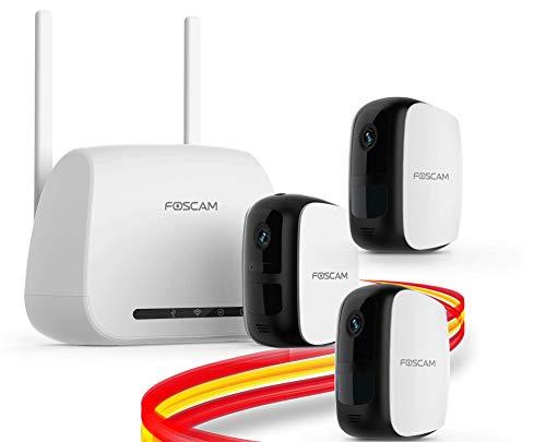 Foscam E1 Sistema sin Cables - Cámara IP WiFi a batería con grabación en la Nube Gratis, 1080P HD, detección, Seguridad, visión Nocturna, Audio bidireccional, Uso en Interiores/Exteriores (Pack-3)