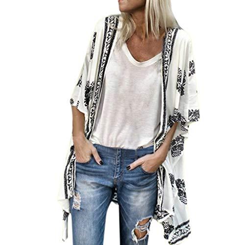 Fenverk Damen Bikini Cover Up Boho Strandkleid Kimono Chiffon Cardigan Sommer 3/4 äRmel Leicht Tuch Lange Mit Blumen Muster(Weiß,S)
