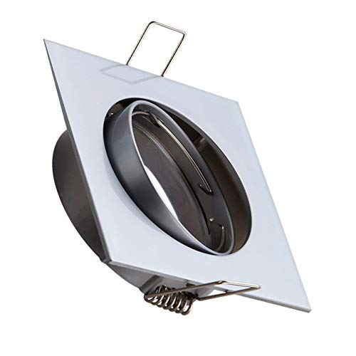 Aro Downlight Cuadrado Basculante para Bombilla LED GU10 / GU5.3 (Cromo satinado)