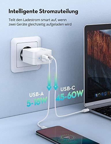 RAVPower USB C Ladegerät 65W Power Delivery, 2 Port USB C Netzteil mit GaN Power Tech, USB C PD Ladegerät für MacBook Pro iPad Pro Google Pixel Nintendo Switch, iPhone 11/12 Pro Max XS XR, Galaxy usw.