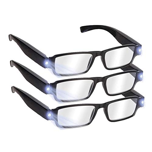 Reading Glasses with Light Bright LED Readers with Lights Reading Glasses Lighted Magnifier Nighttime Reader Compact Full Frame Eyewear Clear Vision Unisex Clear Vision Lighted Eye Glasses,+1.5