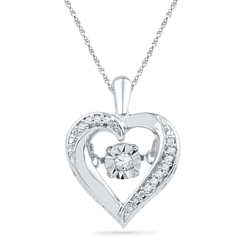 Sterling Silver Round Diamond in Motion Heart Pendant (0.06 CTTW)
