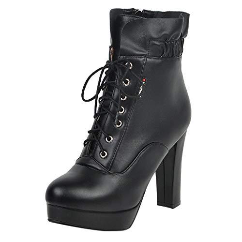 Yowablo Stiefel Frauen Winter High Heel Warme Schnürschuhe Elastische Stiefel Dicke Schuhe (42,Schwarz)