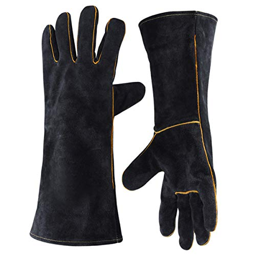 Photo of Long Leather Forge Welding BBQ Gloves, 932°F Heat/Fire Resistant for Fireplace Stove Oven Grill Welding BBQ