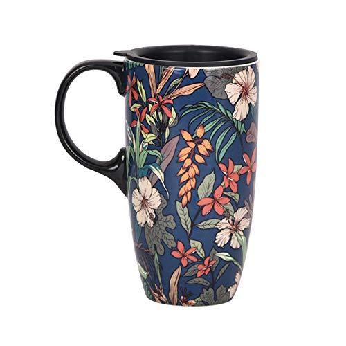 TZSSP Coffee Ceramic Mug Porcelain Latte Tea Cup With Lid 17oz. Blue