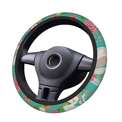 Italian Greyhound Florals Fabric Best Dogs And Flowers Design Steering Wheel Cover Anti-Slip Durable Elasticity 15 Inches Universal Protector Car Accessories Suitable for Most Vehicles Cars and SUV