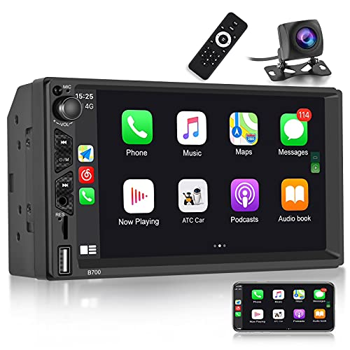 NHOPEEW 7 Inch Double Din Car Stereo Support Apple Carplay and Mirror Link Bluetooth Touch Screen...