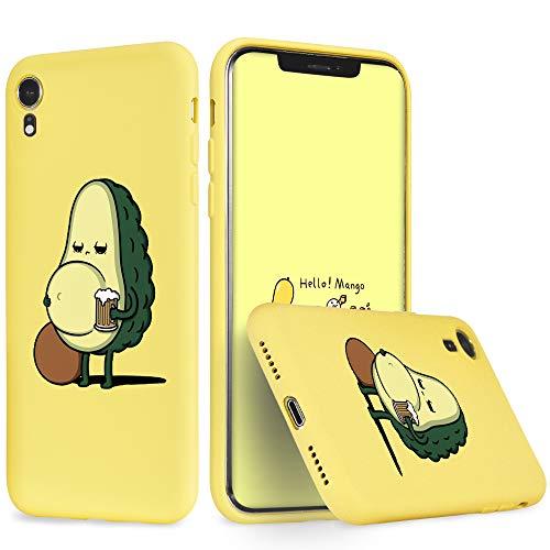 Idocolors Cover per iPhone 7 Plus / 8 Plus Birra Avocado Giallo Silicone Liquido Morbido Custodia con Fodera Tessile Microfibra Antiurto Bumper Protettiva Case