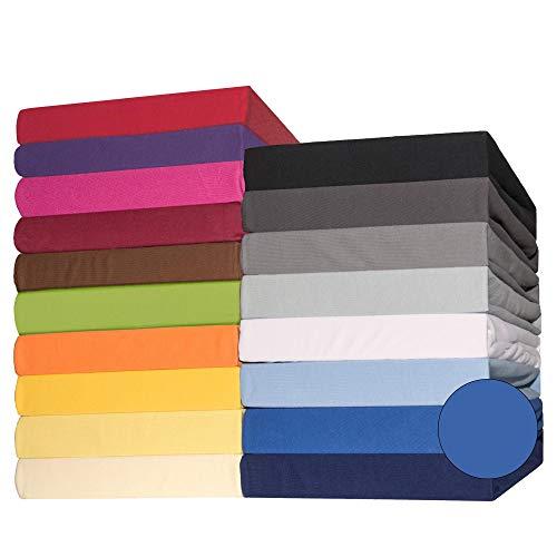 CelinaTex Lucina Spannbettlaken Doppelpack 140x200-160x200 cm royal blau Baumwolle Spannbetttuch Jersey Bettlaken
