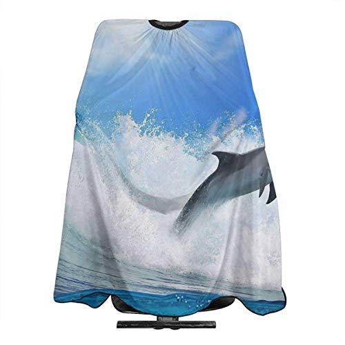 Miedhki Jump Dolphin Sunshine Wave Delantal de corte de pelo de poliéster...