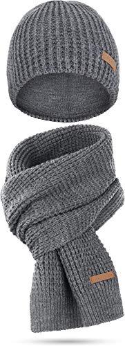 normani Winterset bestehend aus Mütze und Schal mit Schafwolle Farbe Nampa/Grau-meliert