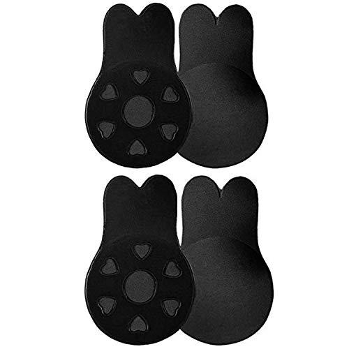 Adhesive Bra,Invisible Bra,2 Pair Breast Lift Tape Reusable Breast Pasties Nippleless Covers Rabbit Bra Ear for Women Black